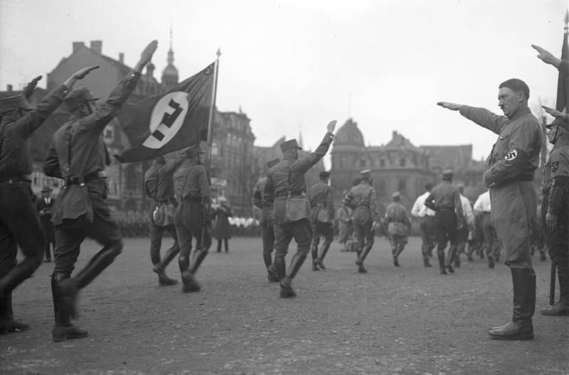 Hitler Salutes Parade