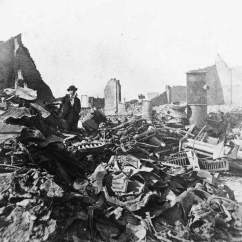 Man Among Rubble Devastation