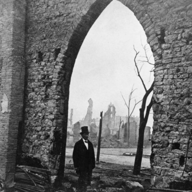 Man And Ruined Building Hat