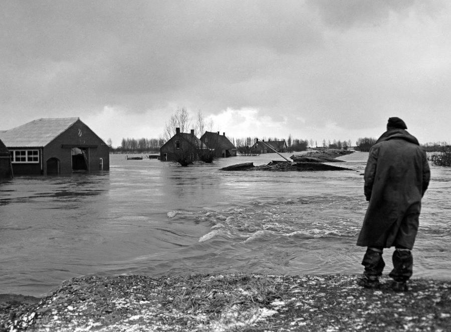 Man Surveying Flood
