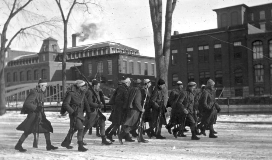Men Patrolling Lawrence Mill
