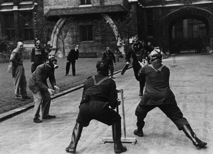 Playing Cricket In Gas Masks