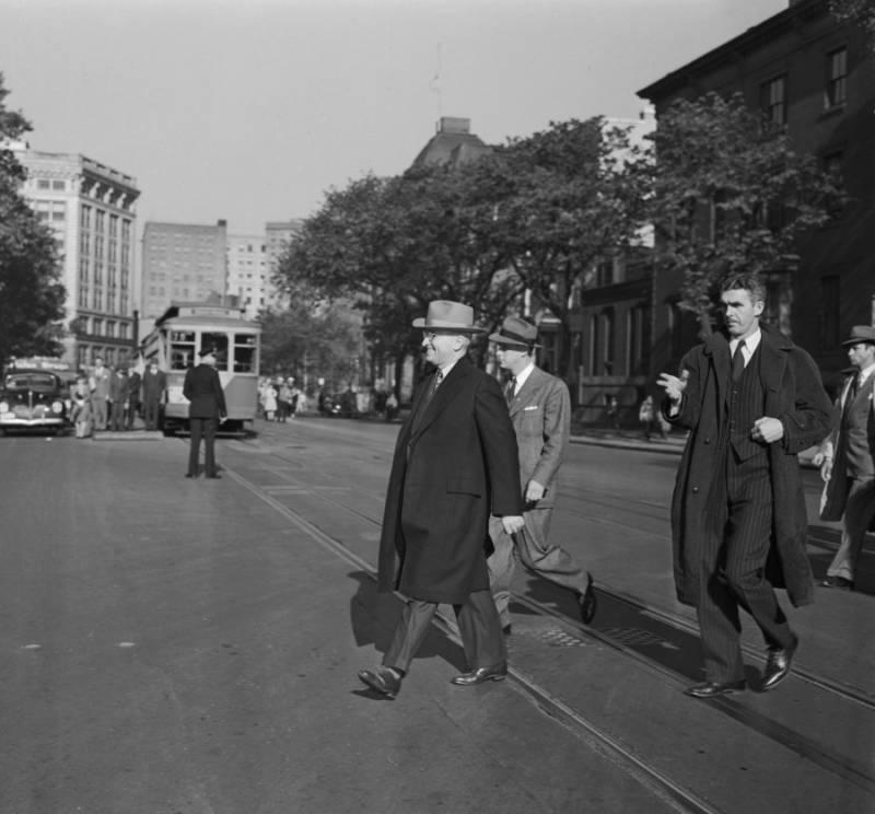 President Harry Truman Being Escorted
