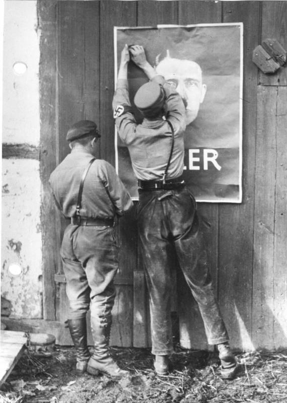 Putting Up Hitler Poster