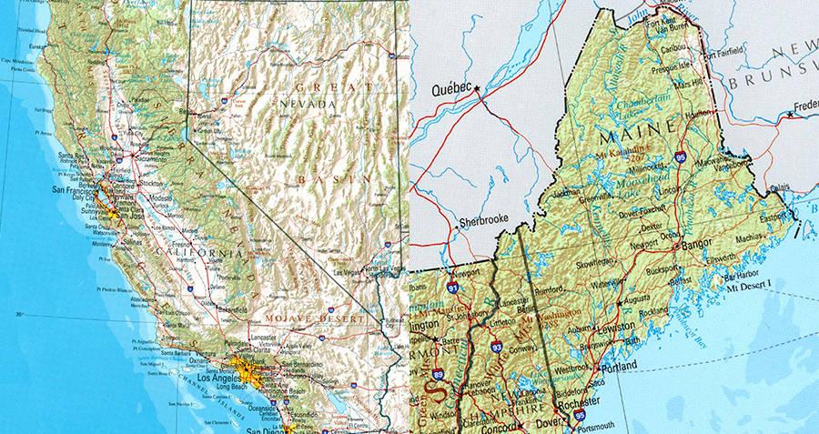 California coastline and Maine Coastline