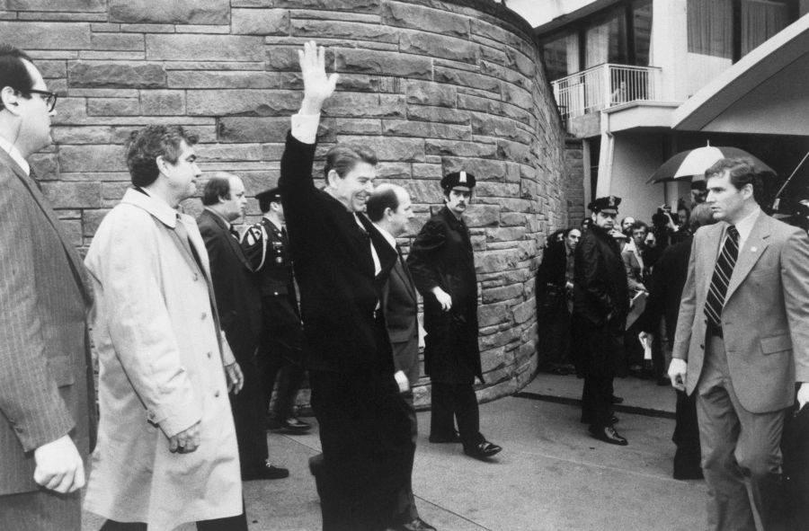 Ronald Reagan Waving Before Assassination Attempt