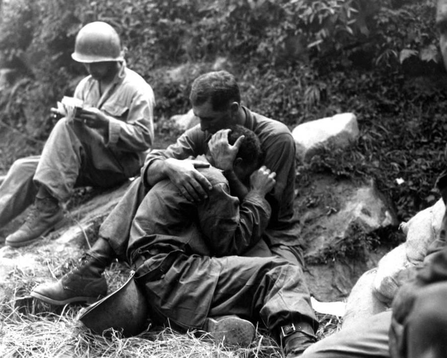 Soldier Comforting Friend Korea
