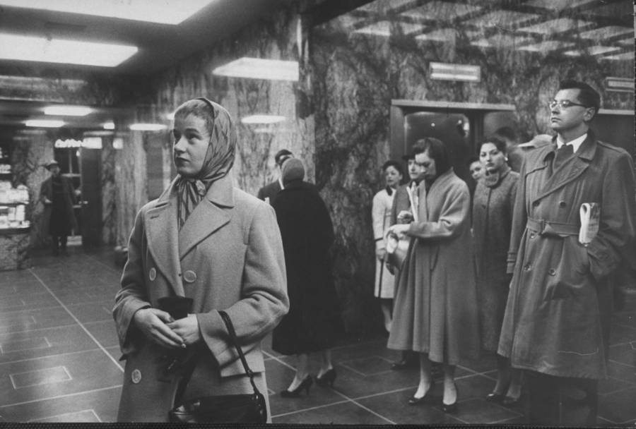 Woman Elevator Madison Ave