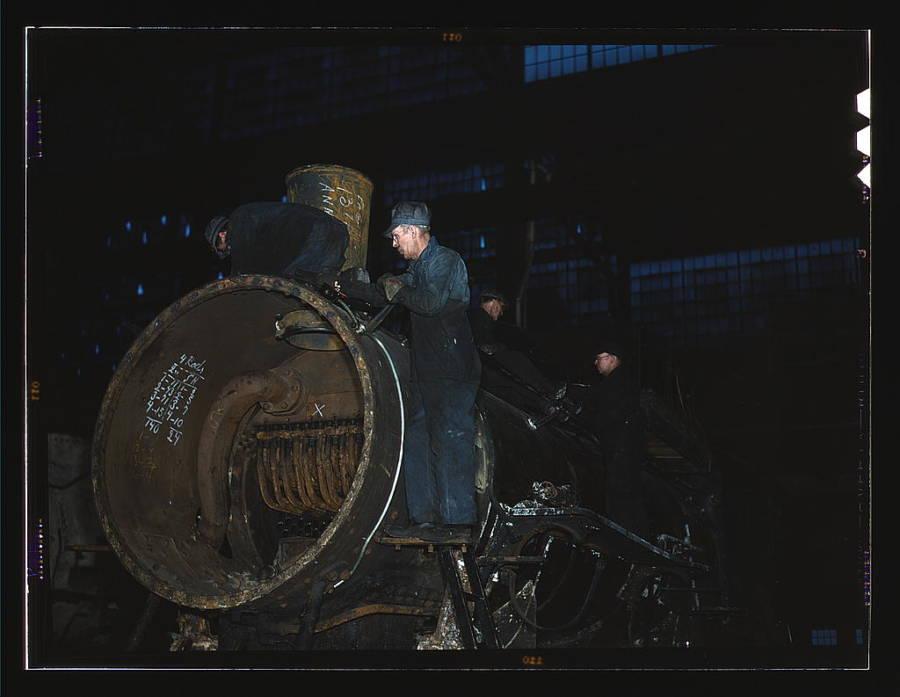 Working On Locomotive Boiler
