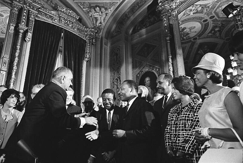 MLK With Johnson After Signing The Voting Rights Act