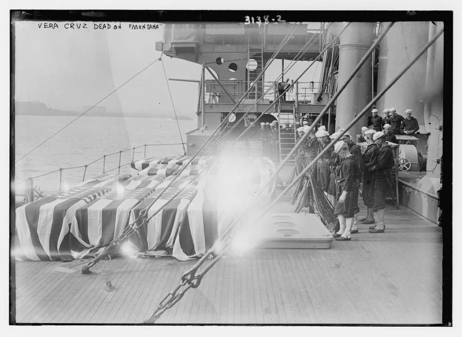 Coffins aboard the Uss Montana