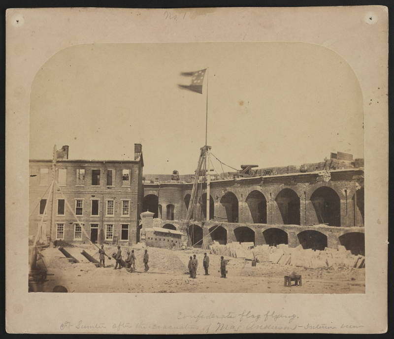 The Confederate flag flies over Fort Sumter