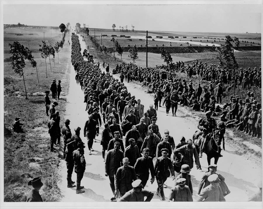 Germans Cage Prisoners March