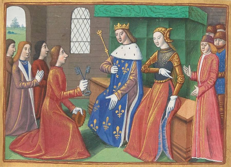 Joan of arc handing keys to king