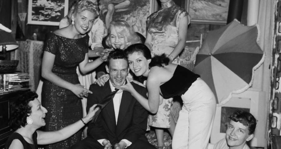 Hugh Hefner Surrounded By Bunnies