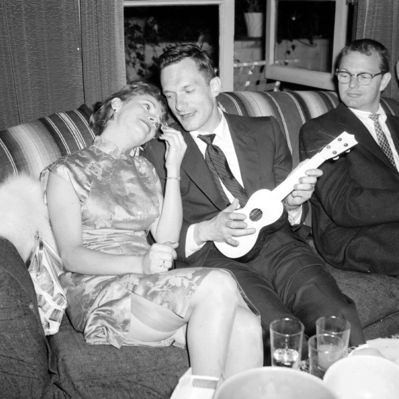 Hugh Hefner With A Ukelele