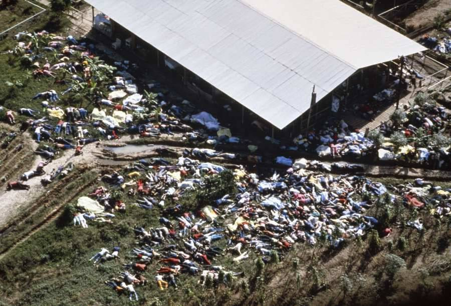 Jonestown Massacre aerial view of bodies