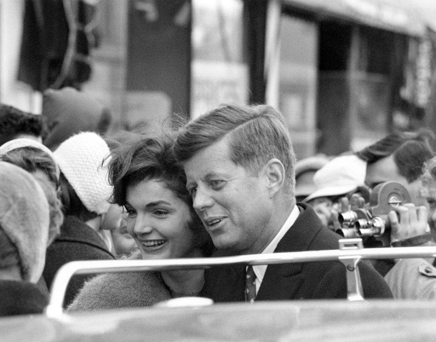 Kennedys In Crowd Smiling