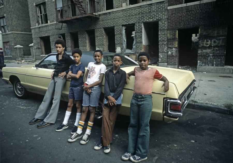 Kids Posing On Car