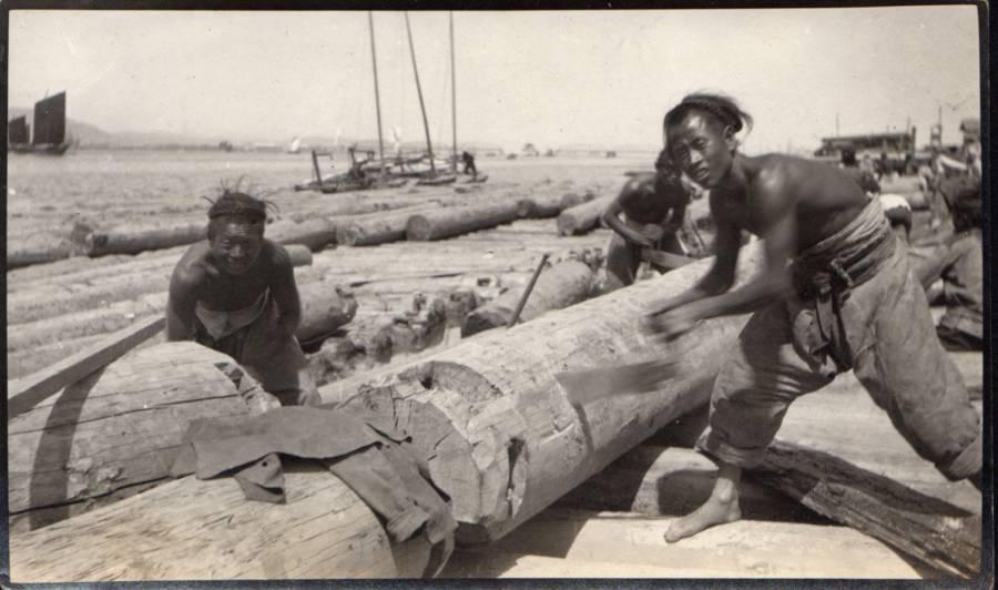 Korean Sawmill Chopping Wood
