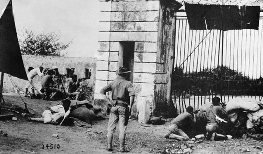 Marines defending against Haitian revolutionaries