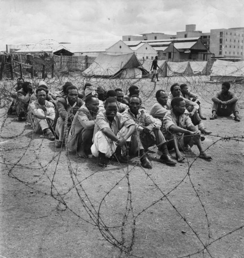 Mau Mau POWs in prison camp in Nairobi