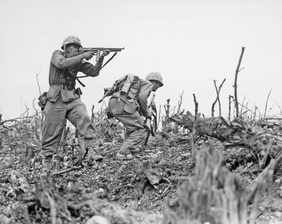 Marines in combat during the Battle of Okinawa