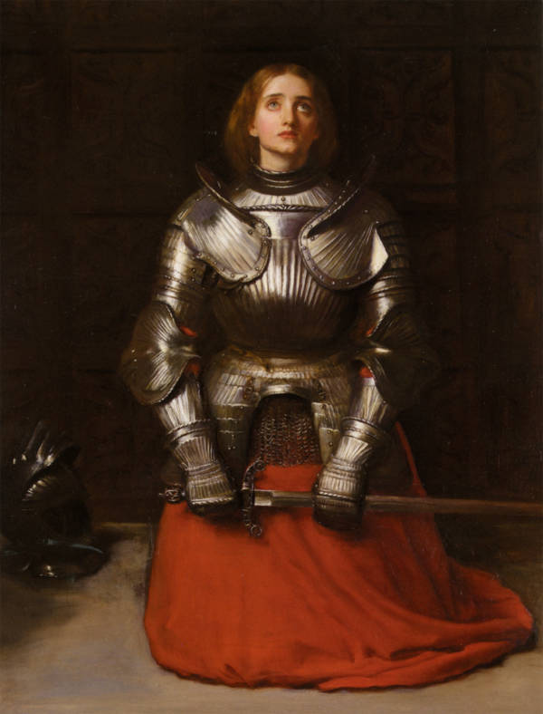 Joan of Arc on her knees