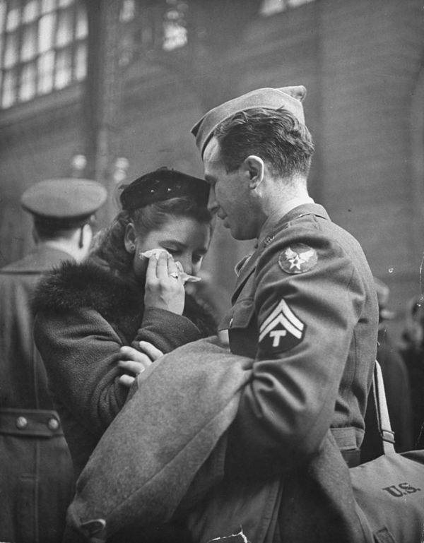 Soldier Consoles His Girlfriend