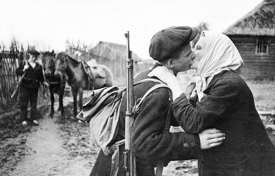 Soldier Kissing His Mother