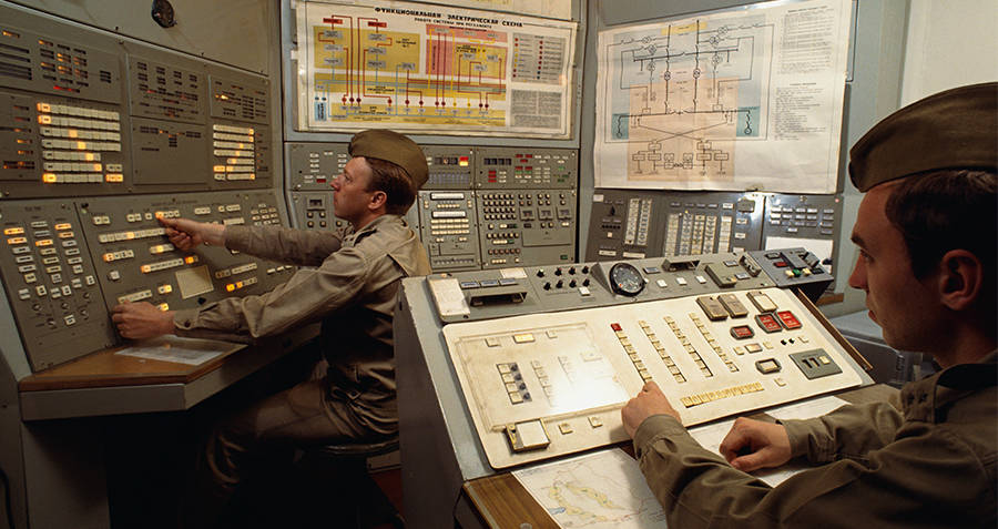 Control room at nuclear missile base in Moscow