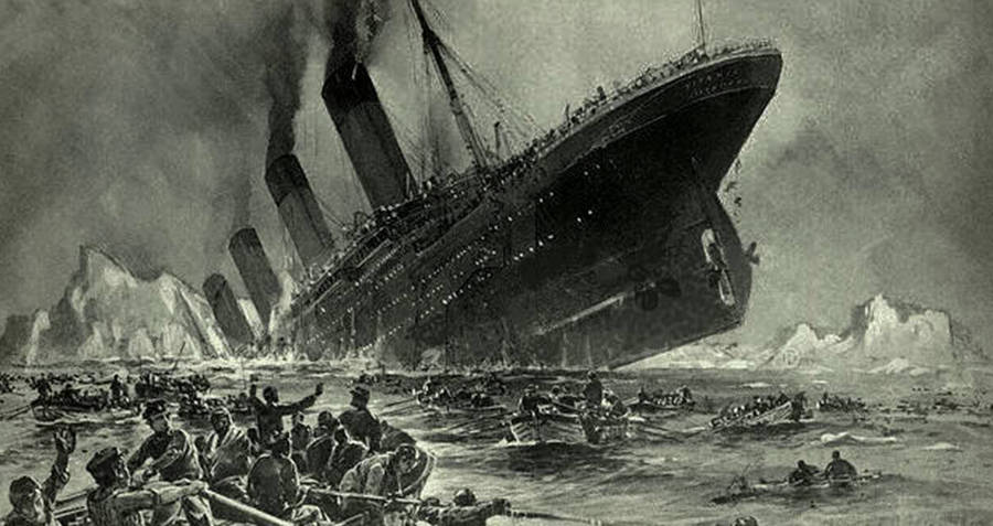 Drawing of the Titanic sinking
