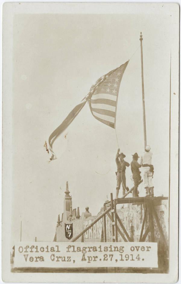 American soldiers raise the U.S. Flag over Veracruz