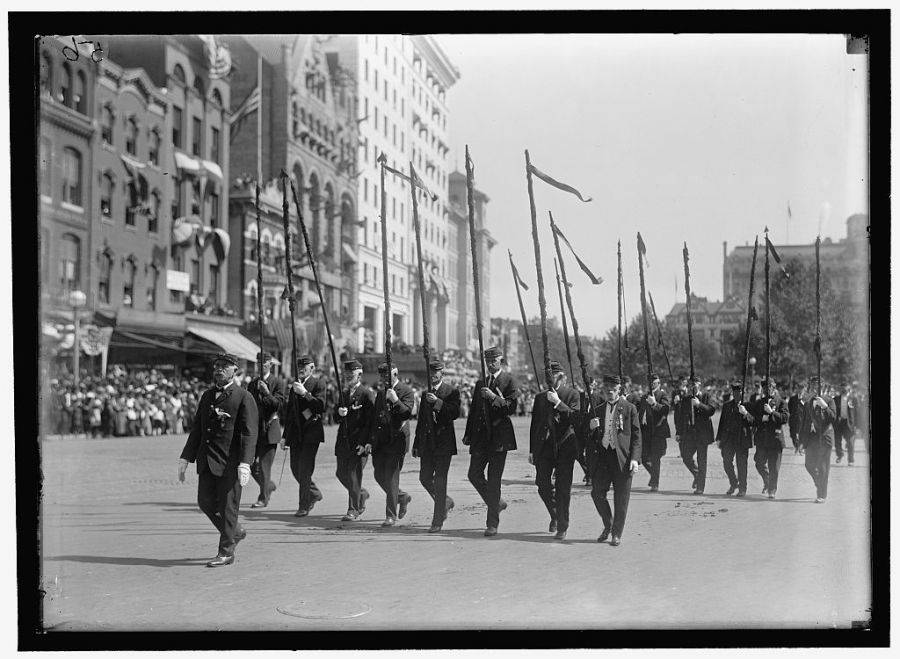 Veterans Marching Spooled Flags