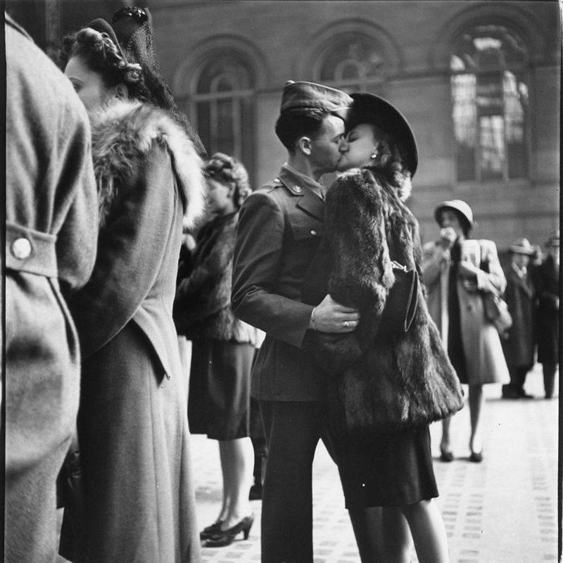 World War 2 Soldier Kisses Woman Goodbye