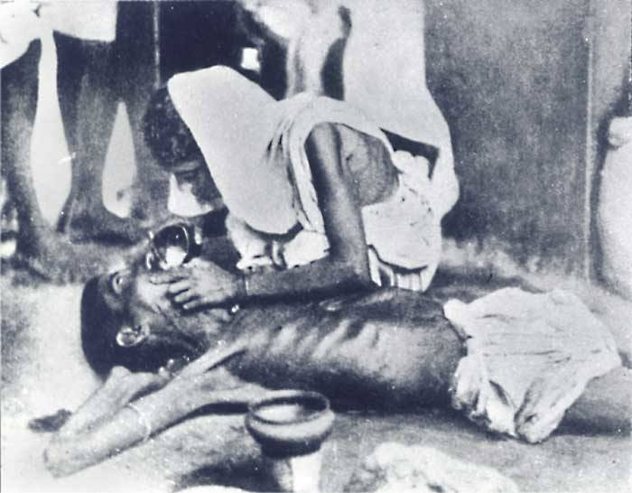 Bengal Famine woman and starving man