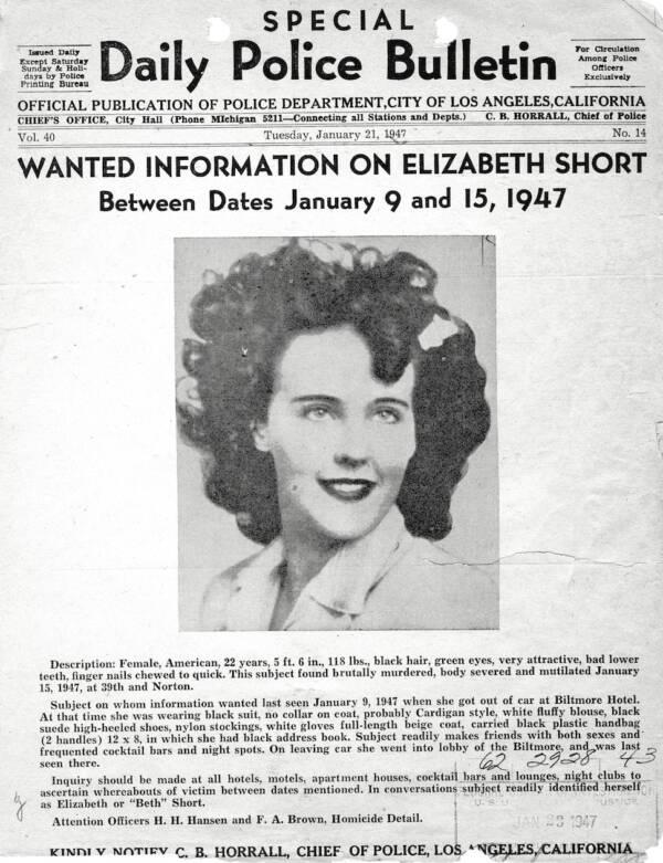 Elizabeth Short Police Bulletin