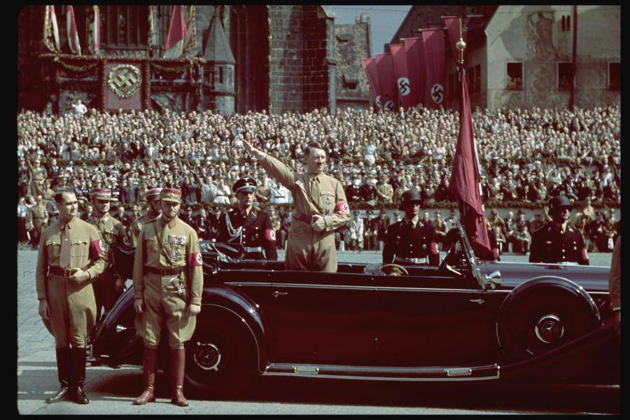 Color Photo Hitler Car Salute