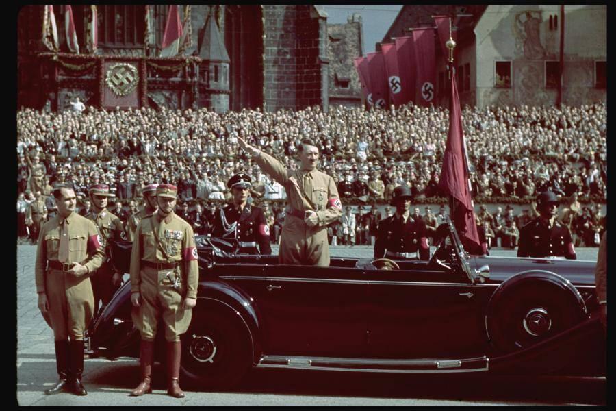 Color Photo Hitler Car Salute