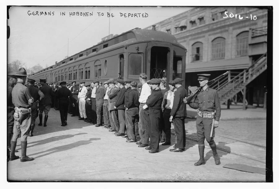 Deported Germans Lining Up