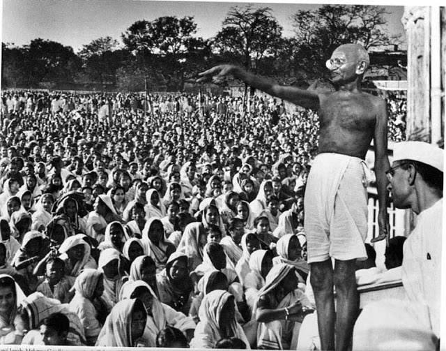 Gandhi Addresses A Crowd