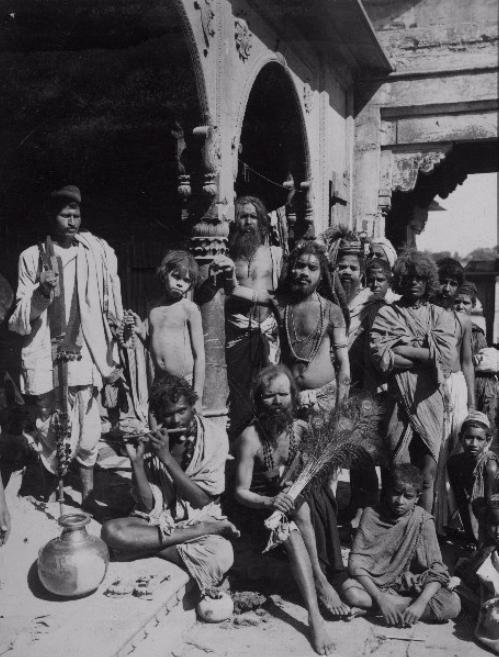 Hindu monks standing in Bombay