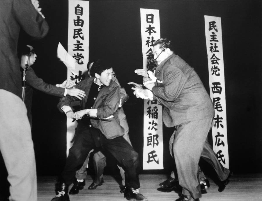 Otoya Yamaguchi assassinates Inejiro Asanuma