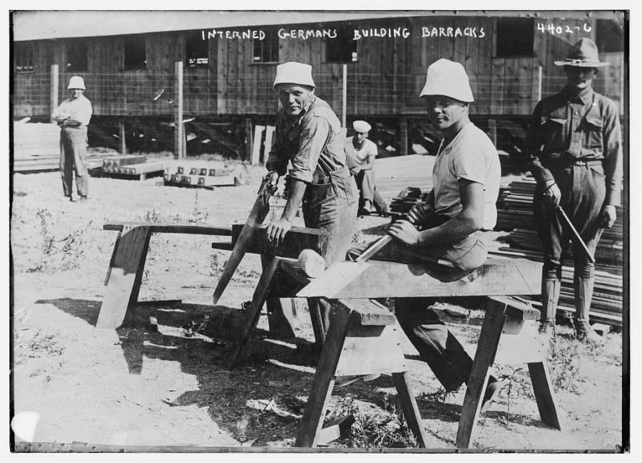 Interned Germans Building Barracks