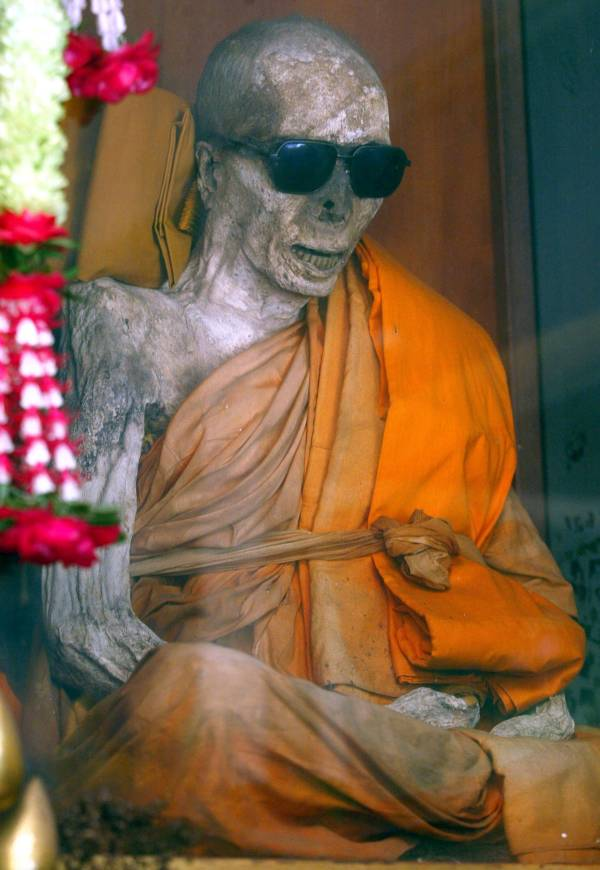 Mummified Buddhist Monk Luang Pho Daeng In Sunglasses