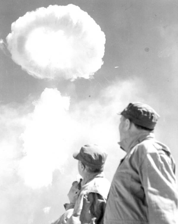 Men Watching Mushroom Cloud