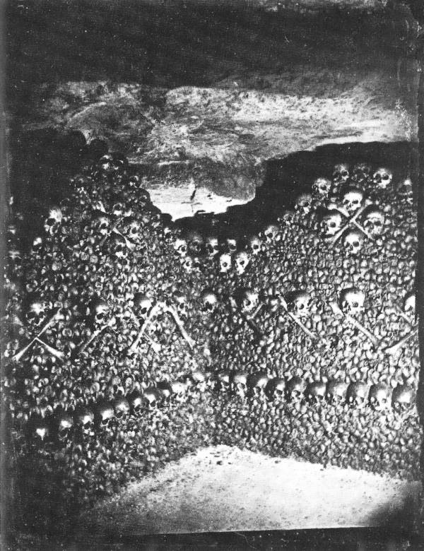 Bone wall in the Paris Catacombs
