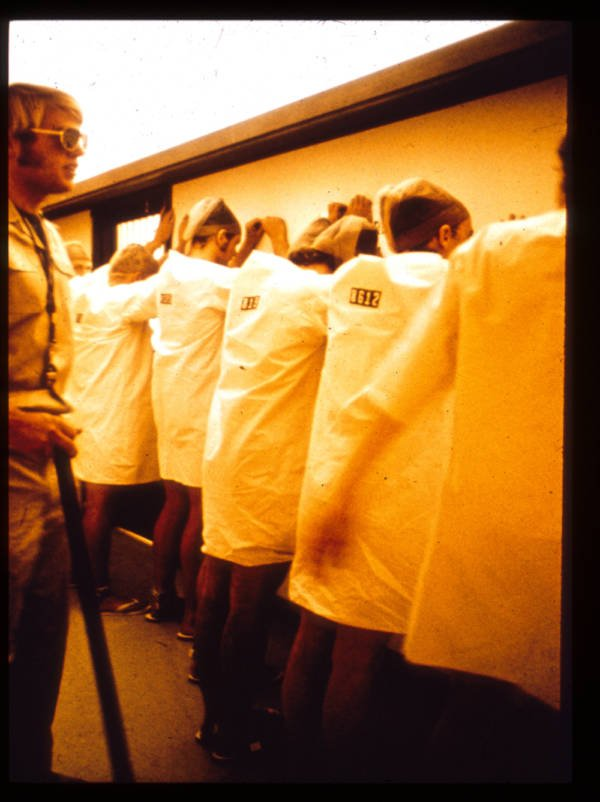 Stanford Prisoners Face Wall During The Stanford Prison Experiment