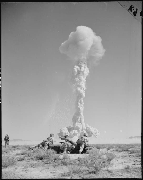 Soldiers Charge Atomic Explosion