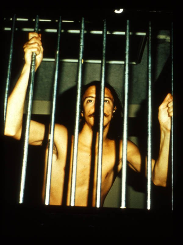 A naked prisoner in the Stanford prison experiment